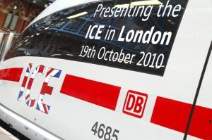 Die Deutsche Bahn präsentiert ihren ICE in London