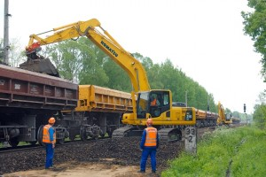 Schienenbauarbeiten bei der Deutschen Bahn