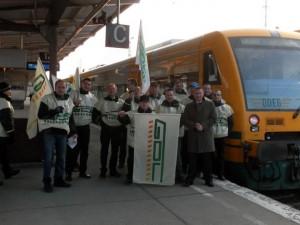 Streikende GDL-Mitarbeiter bei der ODEG