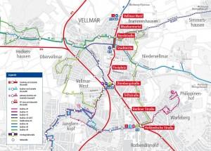 Die Verlauf der neuen Straßenbahnstrecke